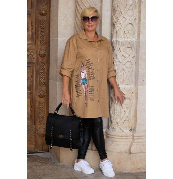 Nilla karamell színű pamut-vászon ing