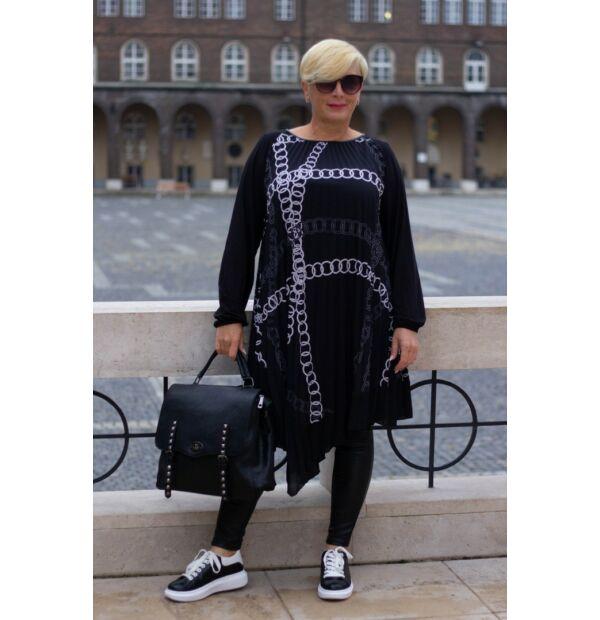 Fekete alapon mintás, pliszírozott ék aszimmetrikus tunika-ruha