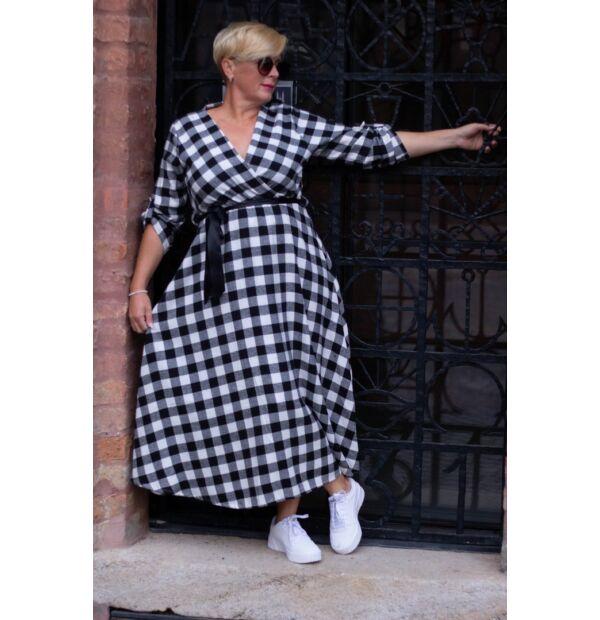 Tifany fekete-fehér kockás maxi ruha