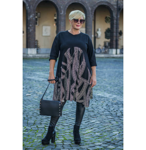Fekete pamut tunika-ruha