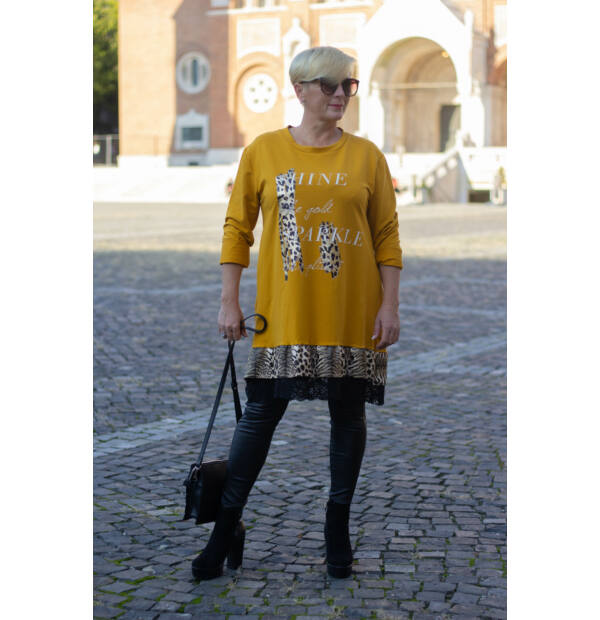 Mia A vonalú mustárszínű fodros pamut tunika