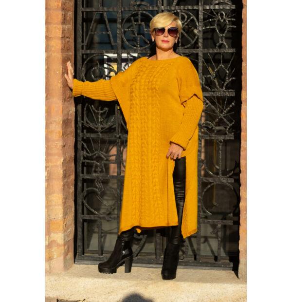 Laza stílusú mustárszínű maxi kötött pulcsi