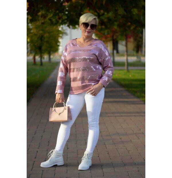 Diane púderszínű kötött pulóver
