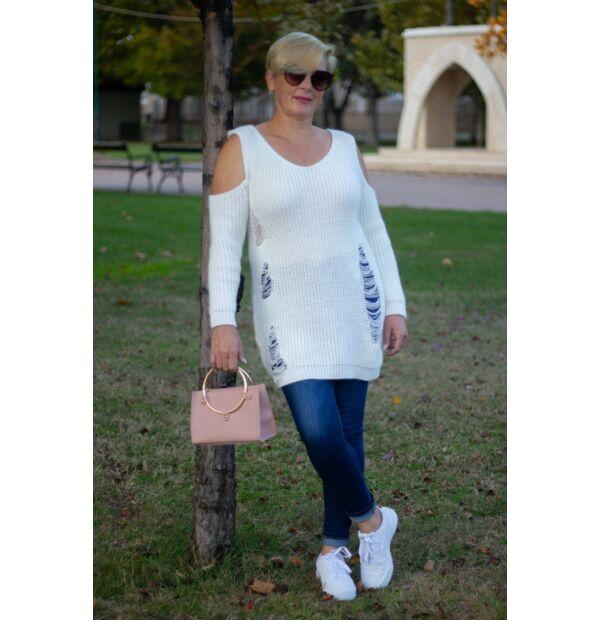Lily fehérszínű kötött pulóver