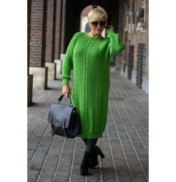 Zöld színű kötött hosszított pulóver