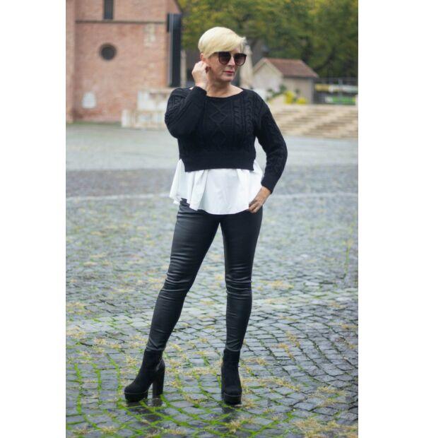Stella fekete színű, alján fehér ing betétes kötött pulóver