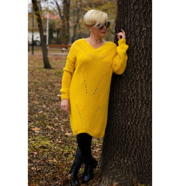 olívia sárga V nyakú, hosszított kötött pulóver