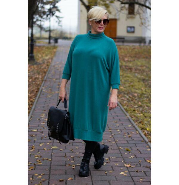 Sarah zöld színű finom kötött maxi pulcsi
