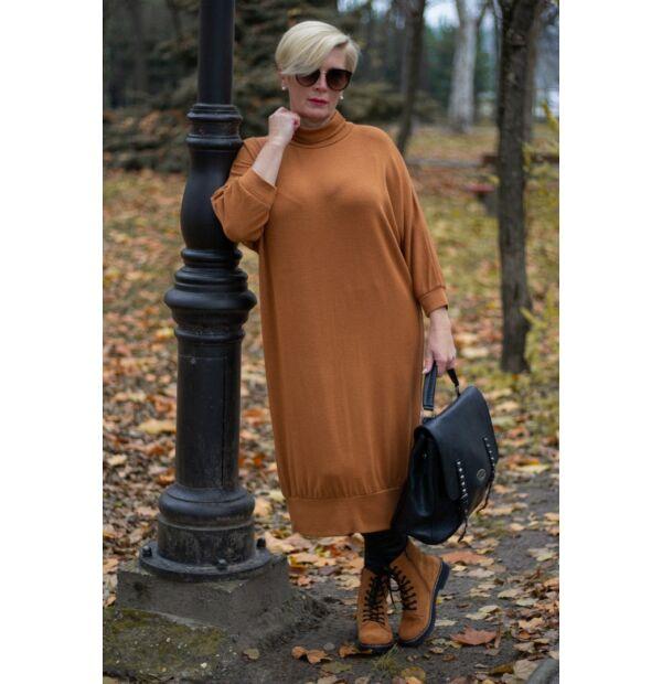 Sarah rozsda színű finom kötött maxi pulcsi