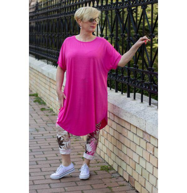 Xénia pink színű, rövid ujjú, laza stílusú pamut tunika