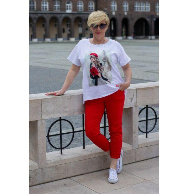 Piros gumírozott derekú rugalmas pamut-vászon nadrág