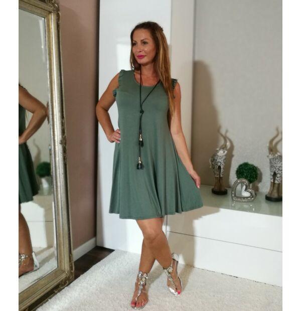 Keki zöld A vonalú újánál fodros pamut ruha