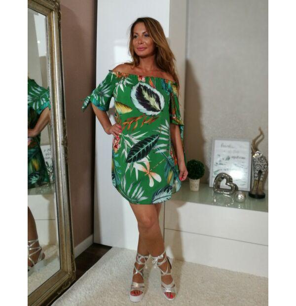 Zöld alapon egzotikus virágmintás vállról lehúzható ruha