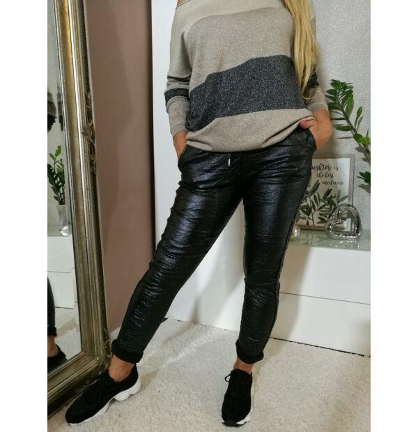 Nicola fekete, ezüstös fényű, gumis derekú, megkötős nadrág
