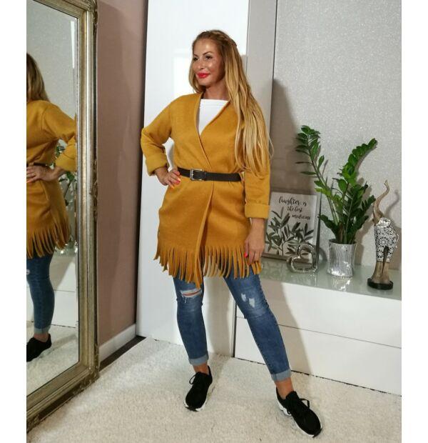 Verona mustárszínű, puha. meleg szövet kabát
