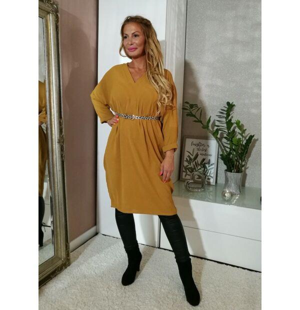 Mustárszínű tunika-ruha