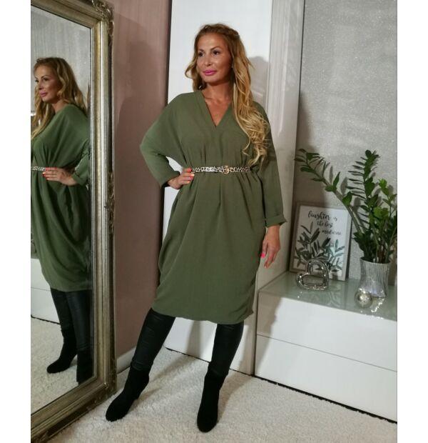 Khaki zöld laza fazonú tunika- ruha