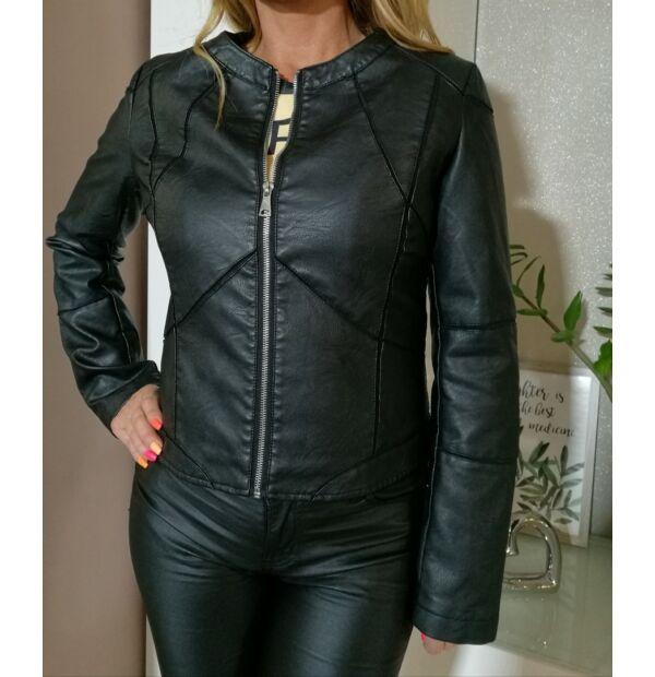 Lorina fekete, bélelt bőrkabát