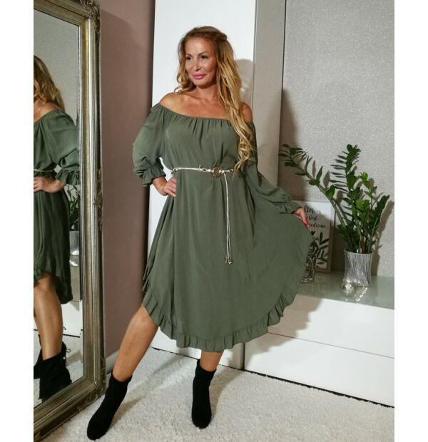 Khaki zöld vállról lehúzható, alján fodros ruha