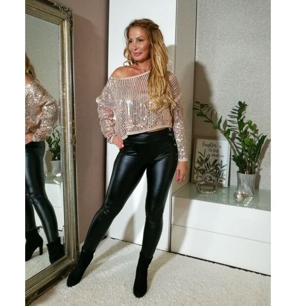 Fekete rugalmas bőrhatású nadrág