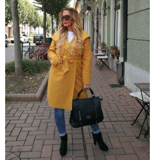 Bona szövet kabát, mustárszínű, kapucnis