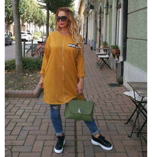 Sofia mustár színű sportos pamut tunika