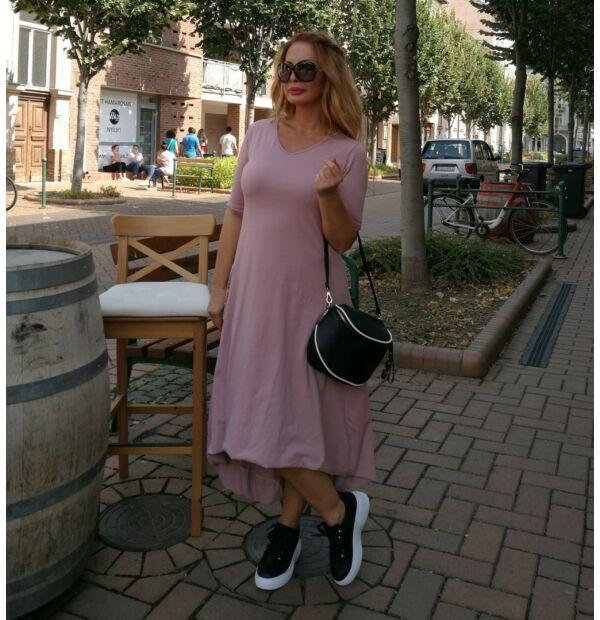 Mona púder színű, laza, sportos pamut tunika-ruha