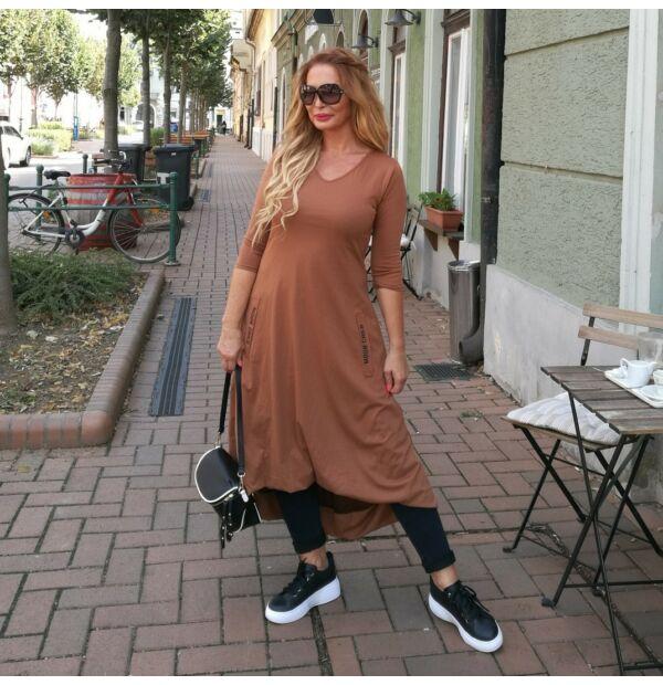 Mona téglaszínű, laza, sportos pamut tunika-ruha
