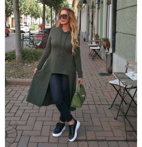 Lucia khakizöld sportos, nőies pamut tunika