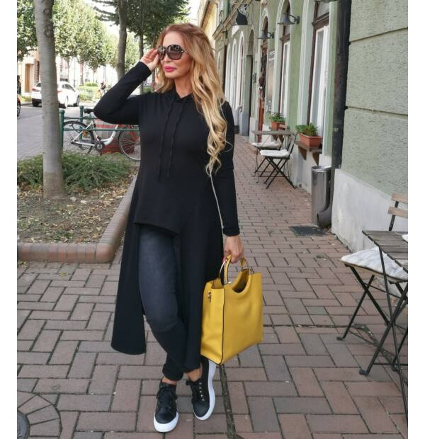 Lucia fekete sportos, nőies pamut tunika