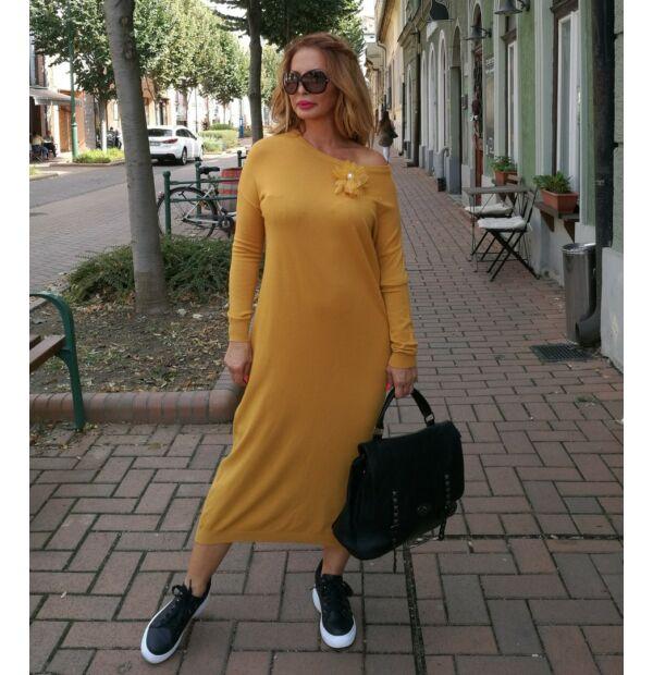 Flóra mustárszínű kötött maxi ruha