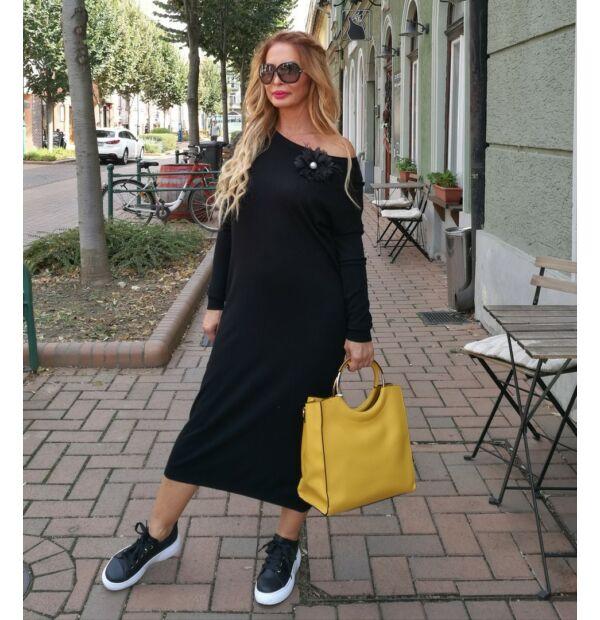 Flóra fekete kötött maxi ruha