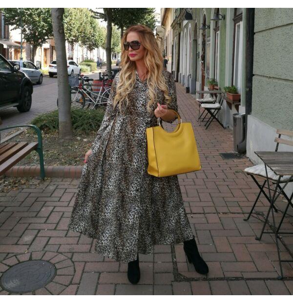 Adele leopárd mintás maxi ruha