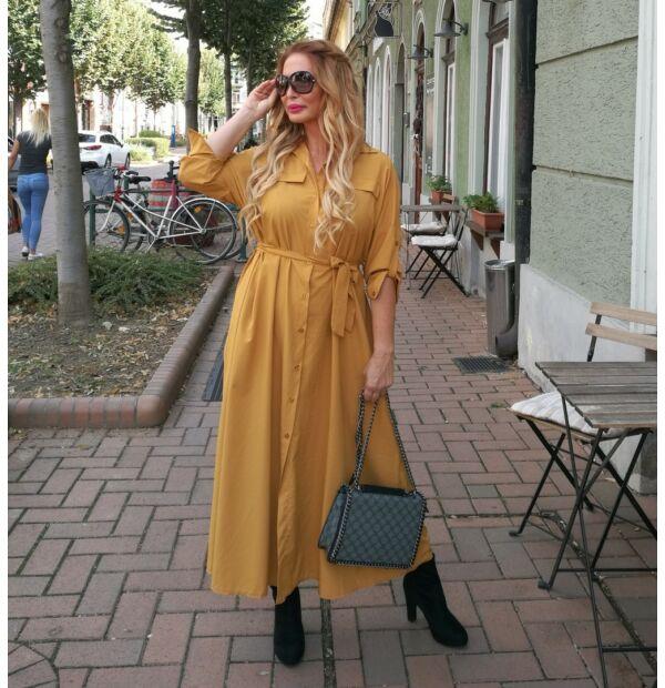 Adele mustár színű, selyem hatású maxi ruha