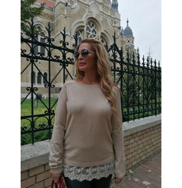 Tifany bézsszínű kötött pulcsi