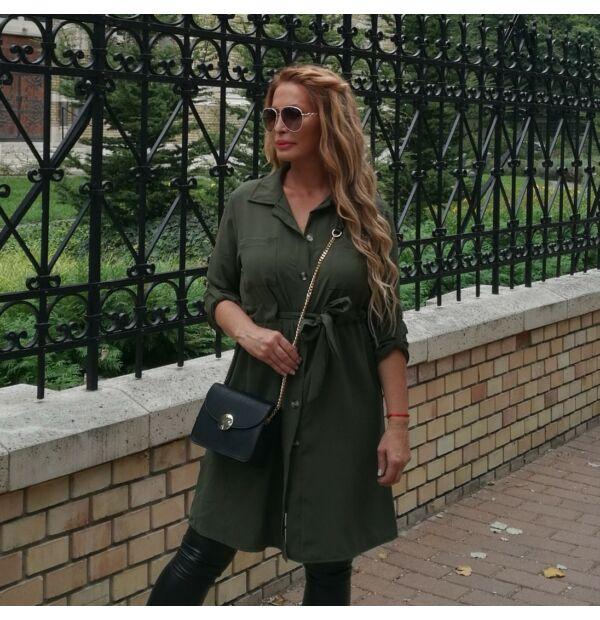 Brenda khakizöld színű végig gombos tunika-ruha