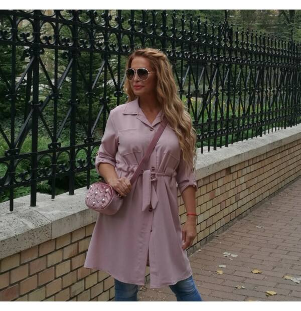 Brenda púder színű végig gombos tunika-ruha