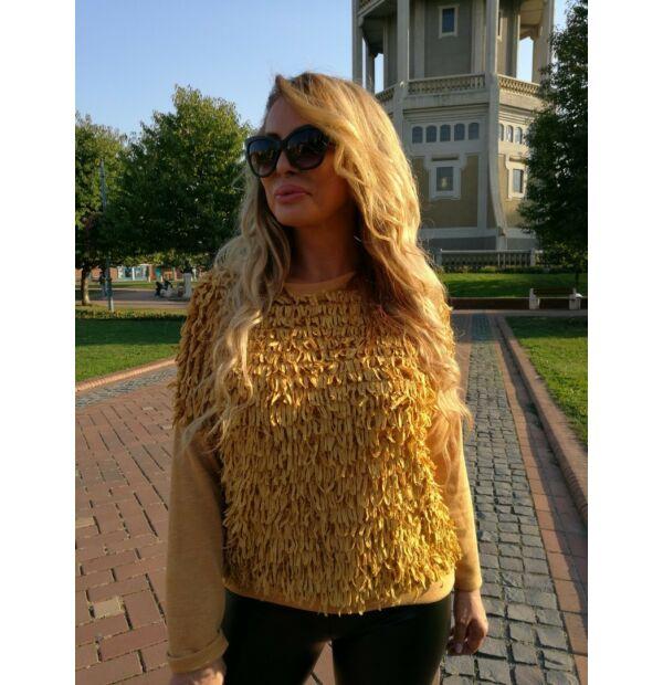 Leticia mustárszínű elején rojtos kötött pulcsi