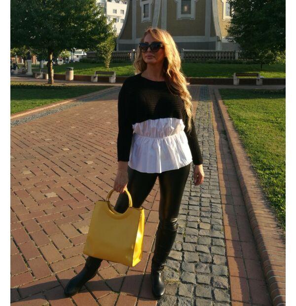 Belinda fekete, fehér ingbetétes kötött pulcsi
