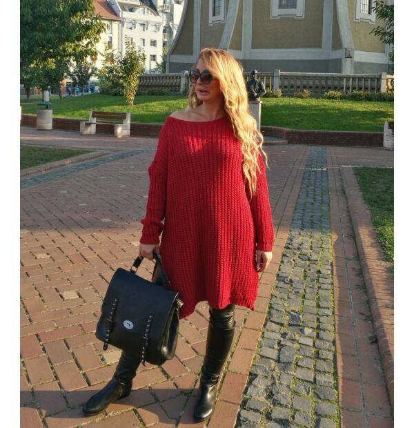 Piros laza fazonú kötött pulcsi