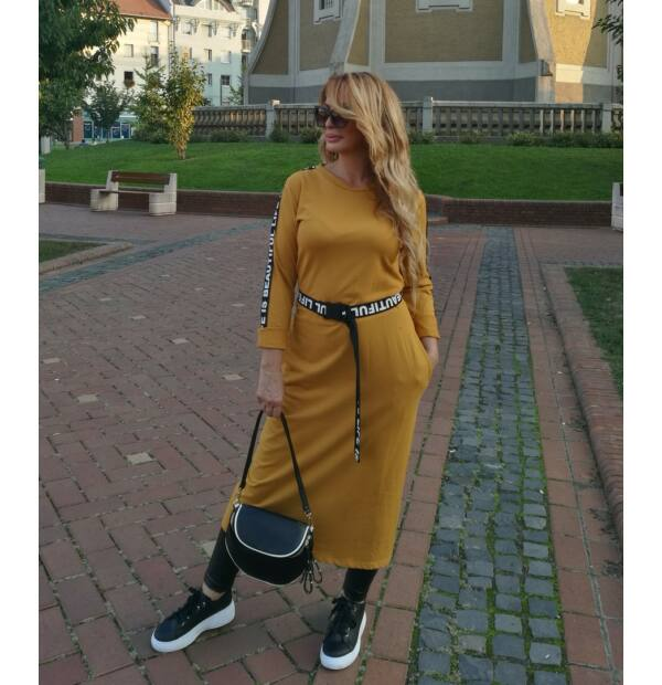 Elena mustárszínű sportos maxi tunika-ruha