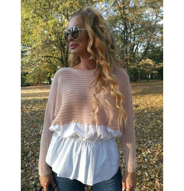 Belinda púder, fehér ingbetétes kötött pulcsi