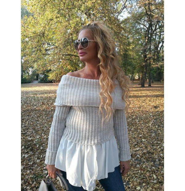 Fehér, fehér ingbetétes, bordás kötött pulcsi