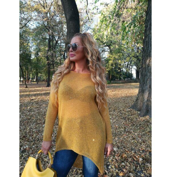 Lucia mustárszínű vékony kötött pulcsi