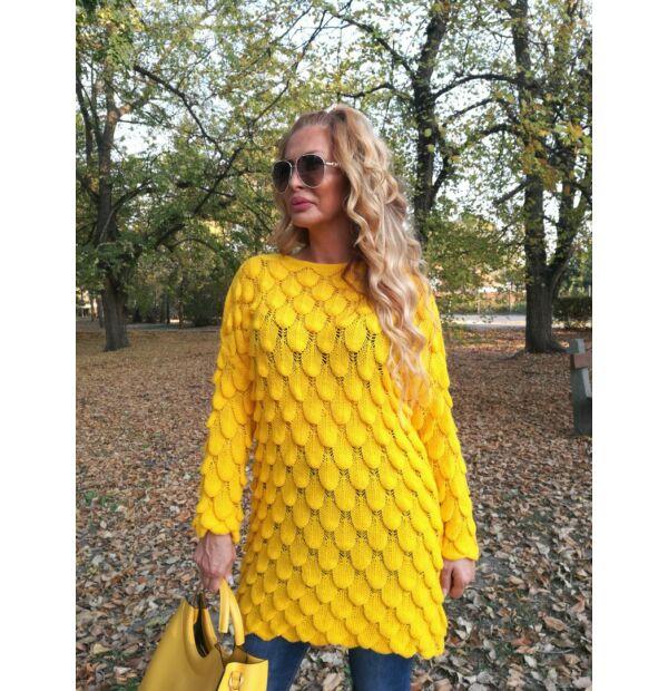 Fiona élénk sárga kötött pulcsi