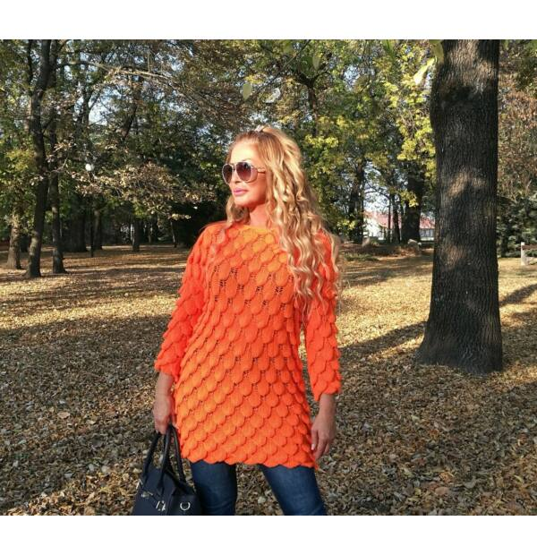 Fióna élénk narancs kötött pulcsi