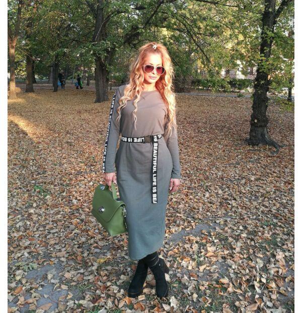 Elena khakizöld színű sportos maxi tunika-ruha