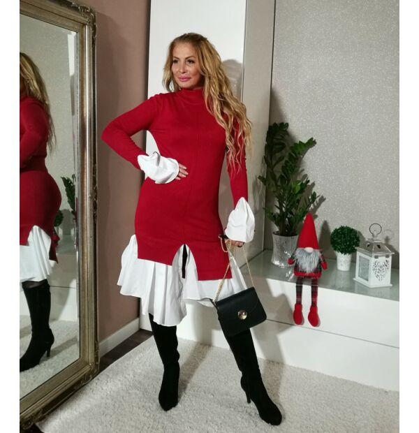 Amy piros kötött ruha, alján fehér vászon betéttel