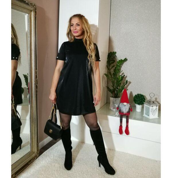 Jessica fekete színű, A vonalú, magasított nyakú, gyöngyökkel díszített, rövid ujjú ruha