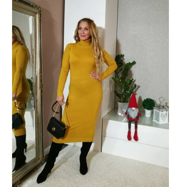 Dorina mustár testre simuló, garbós maxi kötött ruha
